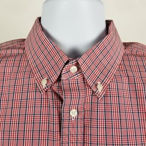 Nordstrom Non Iron Trim Fit Red Blue Check 17.5 36
